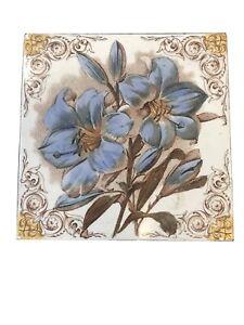 Victorian Antique Handpainted Tile Decorative Flowers