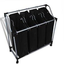 Laundry Sorter Clothes Basket Washing Hamper 4 Bag Organiser Trolley Black