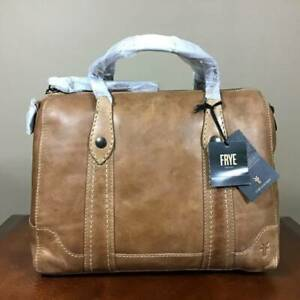 Frye Melissa Italian Leather Top Zip Double Handle Satchel Handbag Beige NWT