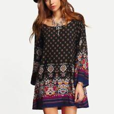 f826272786 New Shein Women's Multi-Color Tribal Long Bell Sleeve Shift Tunic Dress  Size M