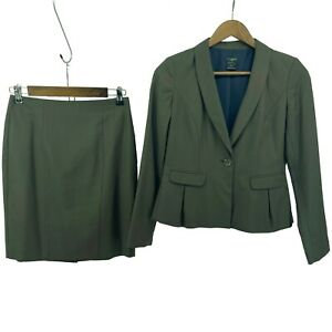 Ann Taylor Women's size 0P Olive Wool Blend Blazer & Skirt Two Piece Work Suit