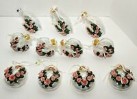 Set of (11) Victorian Glass w/Pink Roses Christmas Tree Ornaments Heart Shape ++