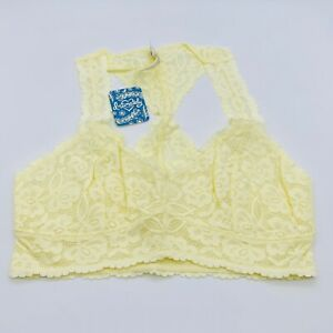 Free People Size Small Galloon Floral Lace Racerback Bralette Light Yellow