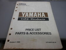 1993 Yamaha OPE Products Price List Parts and Accessories LIT-10021-02-31