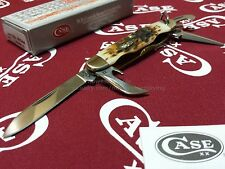 Case XX Cutlery Boys Scout Jr. Knife Amber Bone Handle SS Implements CA-244 USA