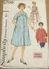 VTG 60s Simplicity Misses Duster Dress & Smock Size 14 Bust 34  Domestic Goddess