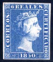 Sello de España 1850 Isabel II nº 4 6 reales azul Certificado Comex ref. A1