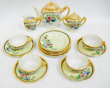 Vintage Hand Painted Lusterware Toy Dishes Tea Set  Floral Motif 17 pcs