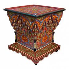 Oriental Marocain Table D'Appoint Bois Peint à la Main Mkarbaz H64xB64x59cm