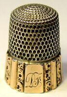 "Antique Simons Bros Gold Band Sterling Silver Thimble  Fluted Octagon  ""DF"" Mngm"