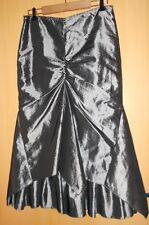 Magnifique longue jupe gris métallisé argenté argent forme originale  40 TBE