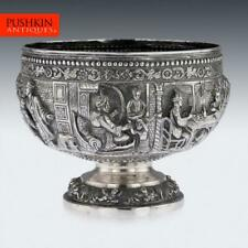 ANTIQUE 19thC INDIAN SOLID SILVER DECORATIVE BOWL, POONA c.1880