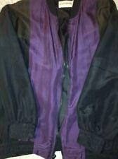 Vintage Rocking 1980's Men's Lrge Bomber Jacket 100% Silk Black, Purple, Olive