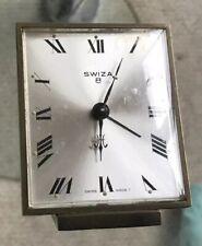 Vintage Swiza 8 Swiss Made Alarm Desk Clock Manual Hand Winding