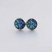 Womens Glitter 925 Sterling Silver Cubic Zirconia Round Stud Earrings Colour Ear