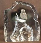 SWEDISH STROMBERGSHYTTAN STUDIO GLASS SCULPTURAL PAPERWEIGHT OWL ON AN ICEBERG