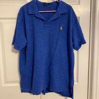 Polo Ralph Lauren Mens Polo Shirt Blue Heathered Short Sleeve Classic Fit XXL