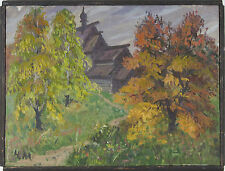 "Mikhail Chalov ""Autumn"" Original Russian Oil Painting 1989"