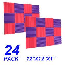 24 PCS Acoustic Wedge Studio Soundproofing Foam Wall Tiles 12x12x1  purple red