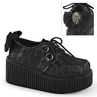 Demonia Creepers 212 Ladies Goth Punk Rockabilly Creeper Black Suede Bow Shoes