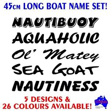45cm Tinny,runabout,centre console fishing boat funny name decals stickers set!
