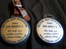 2 ILLINOIS~WESTERN GOLF ASSOC. CLUB MEMBER BADGES TWIN ORCHARD & BRYN MAWR C.C.