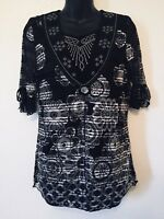 Simply Irresistible Floral Black Blouse Top Sheer Lining 3/4 Sleeve Womens Size
