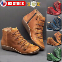 US Women's Lace Up Ankle Boots Leather Flat Heel Booties Casual Shoes Size 6-9
