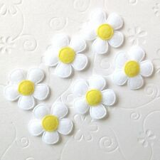 "US SELLER - 60 pc x 1"" Padded Felt Spring Flower Appliques/White for Bows ST464Y"