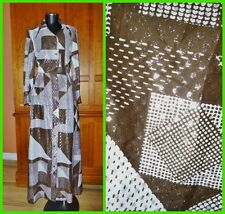 Vtg 70s Fred Rothschild Silver Metallic Patchwork Print Boho Evening Maxi DRESS
