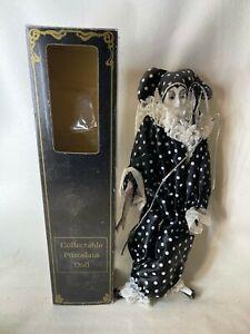 """VINTAGE 15"""" Harlequin Mardi Gras Jester Clown Porcelain Doll  BLACK W POLKA DOTS"""