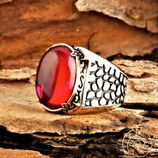 Antique Mens Ruby Silver Large Red Stone Vintage Engagement Ring For Cobblestone