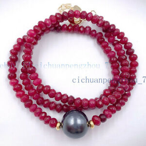 Faceted 2x4mm Ruby Rondelle Beads & 12mm Black Shell Pearl Necklace 18''