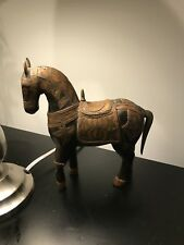 Hand Carved Wooden Asian Armored Battle Horse Saddle Antique Copper Brass Ornate