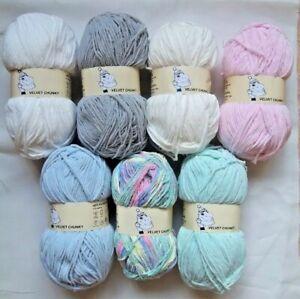 Woolyhippo Velvet Chunky Baby Soft Yarn Polyester Chenille Knitting Wool 100g