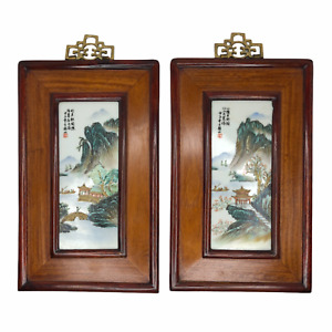 Vintage Pair Chinese Painted Porcelain Tile Plaque Wood Frame Signed Stamped