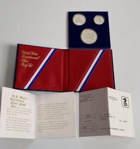 1776-1976 Bicentennial 3 Coin 40% Silver Proof Set COA + All Original Packaging