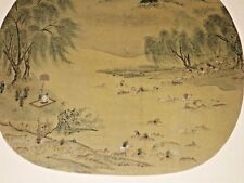 Rare Antique Chinese Fan Original Painting on Silk herd of horses crosses river