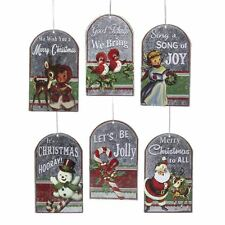 SET/6 Metal Retro Christmas Tree Vintage Style Holiday Decor Ornaments Santa