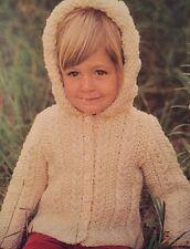"FB7 - Knitting Pattern - Child's Aran Hooded Cardigan / Coat - 22-28"" Children's"