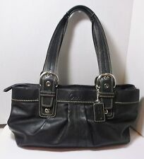 Coach 13732 Large Black Leather SOHO Pleated Tote Bag Pre-owned