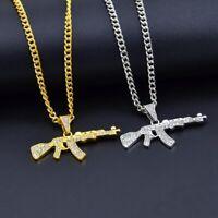 Submachine Gun Design Pendant CreativeRhinestones Gold Fashion Chain Necklace