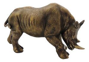 Rhinoceros Statue Resin Bronze Gold Colour Approx 13cmx21cm