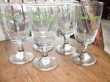 5 X ELEGANT VINTAGE IRISH COFFEE STEMMED GLASSES WITH GREEN SHAMROCKS EX COND