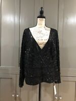 CHETTA B. Sherrie Bloom Women Beaded Top Black Size 22W NWT $500