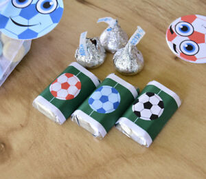 54 Soccer Candy  Wrappers, Soccer Candy Stickers, Soccer Gift Favors