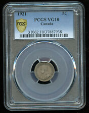 1921 Canada Five Cents - PCGS VG10 - Rare Key Date