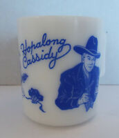 Vintage HOPALONG CASSIDY White Milk Glass Mug Cup Blue Print EXCELLENT Lettering