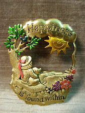 """JJ"" Jonette Jewelry Antique Gold Pewter 'HAPPINESS is Found Within' Pin"