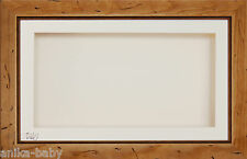 Large 3D Rustic Pine Wooden Wood Box Display Frame Cream Flowers Medals Casts